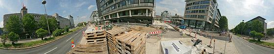 An der Gehweg-Baustelle