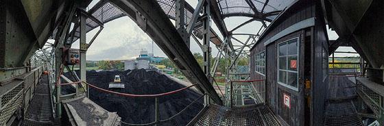 Auf der Brücke des Kohleverladekrans