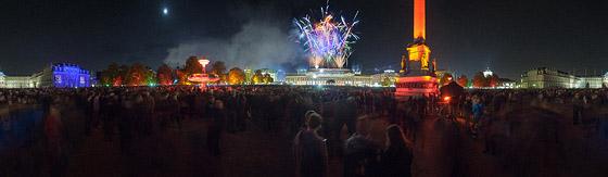 Feuerwerk über den Königsbaupassagen